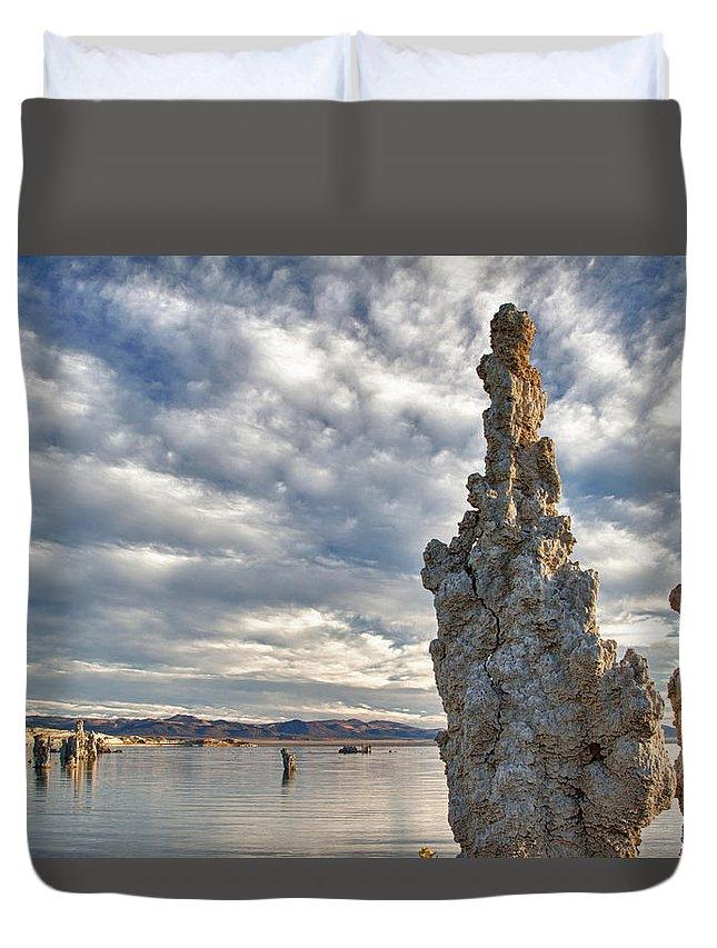 Mono Lake Duvet Cover featuring the photograph Big Sky And Tufa, Mono Lake, California by Kenneth Bradley