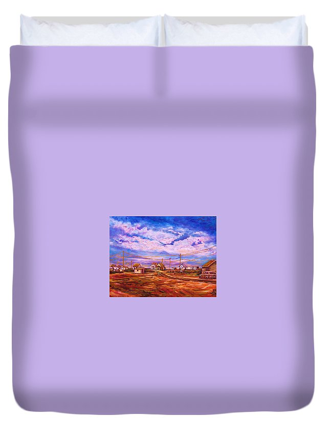 Cloudscapes Duvet Cover featuring the painting Big Sky Red Earth by Carole Spandau