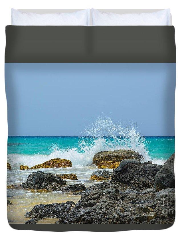 Playa Brava Duvet Cover featuring the photograph Big Splash On Rocks Of Playa Brava by Laura Angela Morse