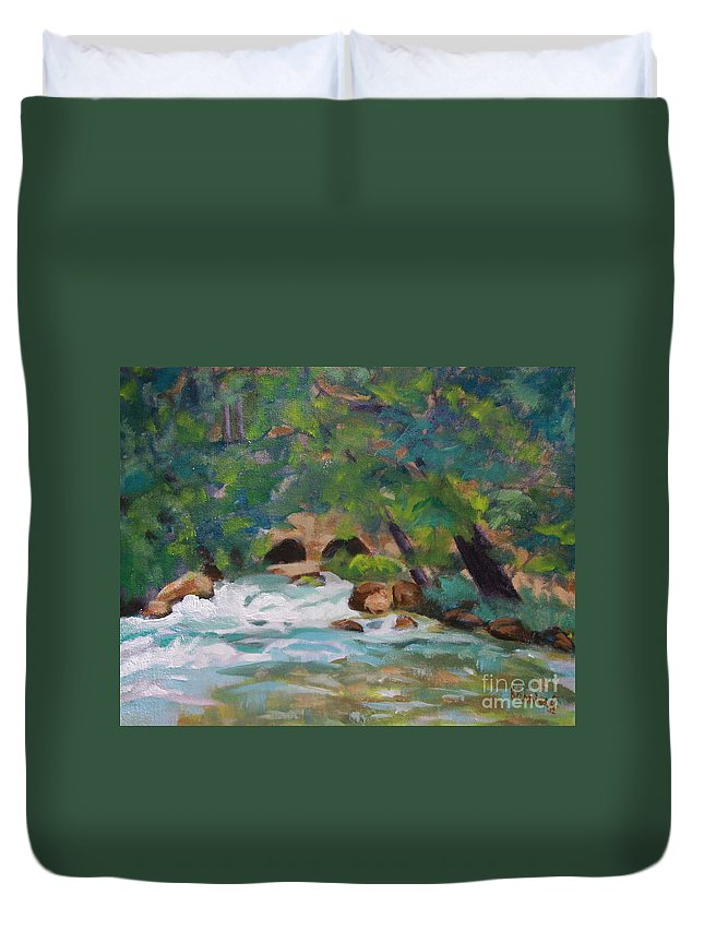 Impressionistic Duvet Cover featuring the painting Big Spring On The Current River by Jan Bennicoff
