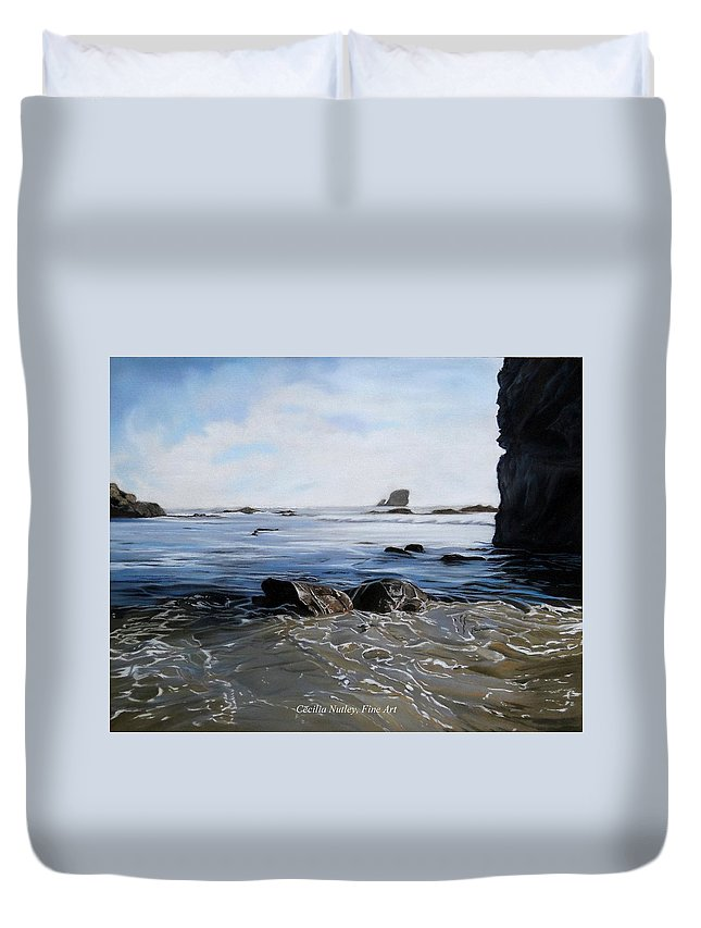 Landscape Duvet Cover featuring the painting Big Sur Blues by Cecilia Nutley