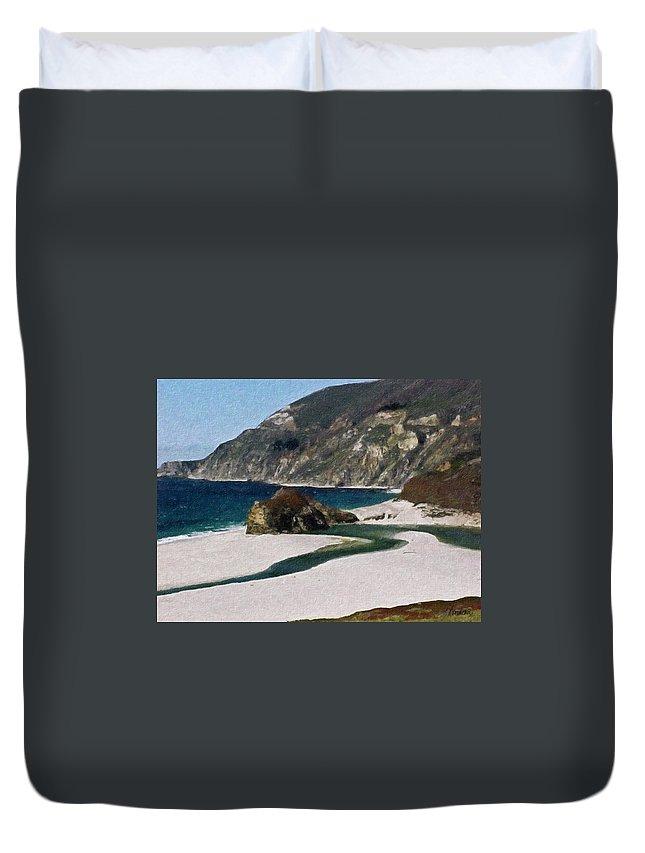 California Duvet Cover featuring the painting Big Sur California by Teresa Mucha