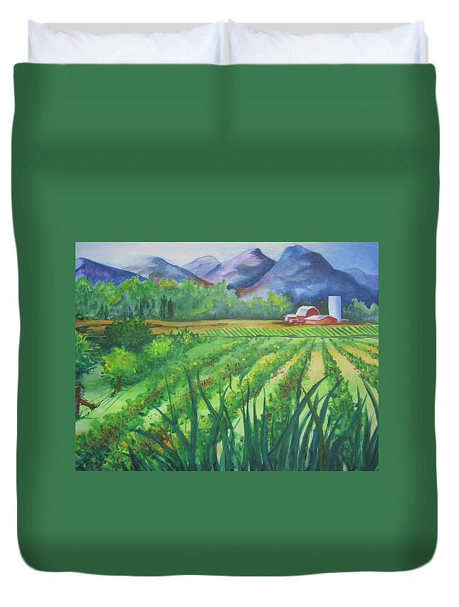 Landscape Duvet Cover featuring the painting Big Valley Farm by Karen Stark