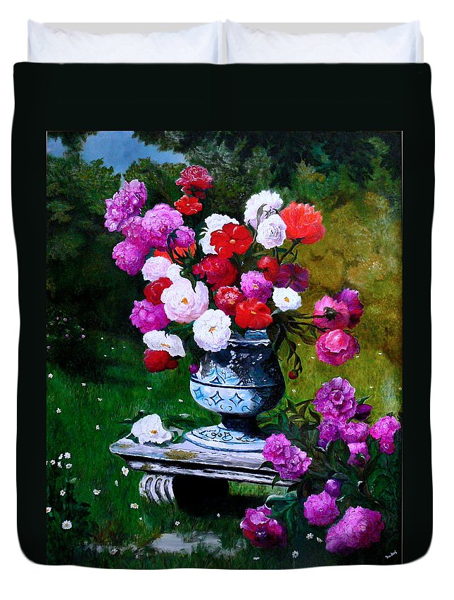Stilllife Duvet Cover featuring the painting Big Vase With Peonies by Helmut Rottler