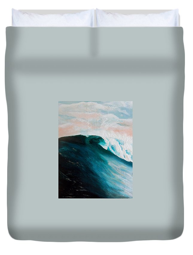 Wave Duvet Cover featuring the painting Big Wave by Racquel Morgan