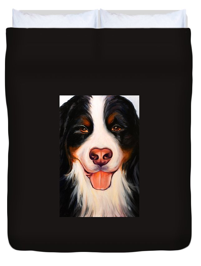 Dog Duvet Cover featuring the painting Big Willie by Shannon Grissom