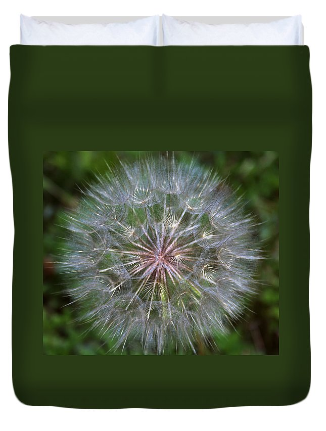Dandelion Duvet Cover featuring the photograph Big Wish by Linda Sannuti