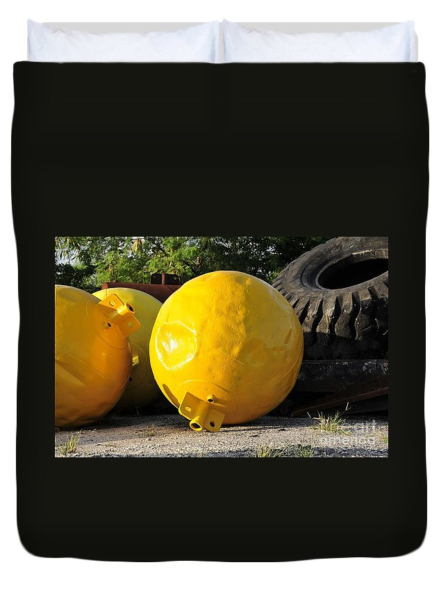 Yellow Duvet Cover featuring the photograph Big Yellow Balls by David Lee Thompson