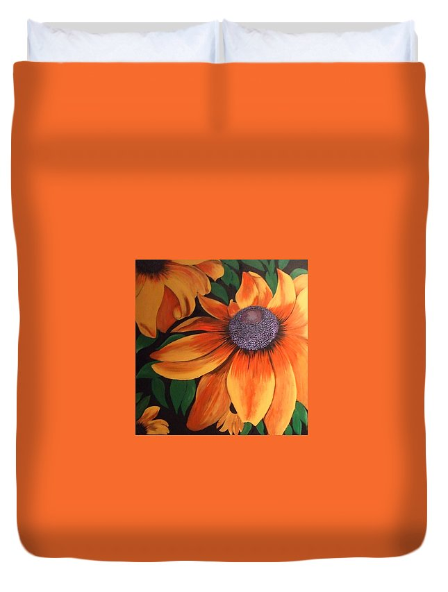 Floral Duvet Cover featuring the painting big yellow I by Faith Puleston