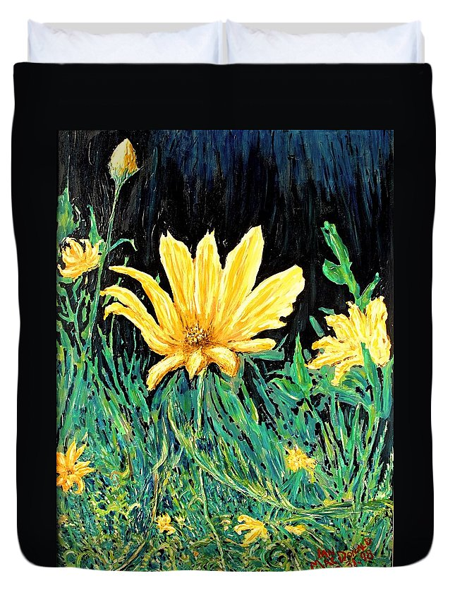 Flower Duvet Cover featuring the painting Big Yellow by Ian MacDonald