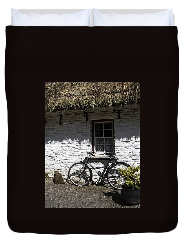 Irish Duvet Cover featuring the photograph Bike At The Window County Clare Ireland by Teresa Mucha