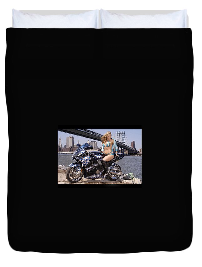 Phone Duvet Cover featuring the photograph Bike, Babe, And Bridge In The Big Apple by Lawrence Christopher