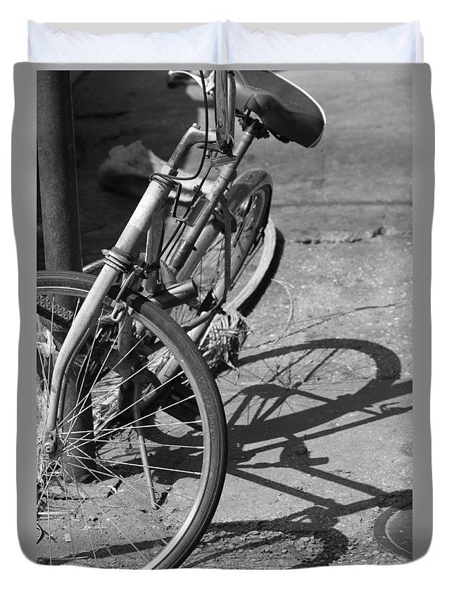Bike Duvet Cover featuring the photograph Bike Shadow by Lauri Novak