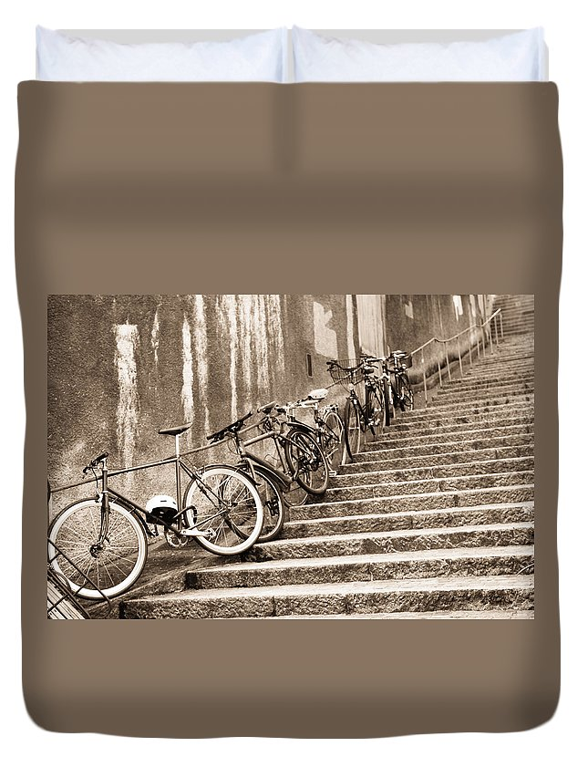 Bike Duvet Cover featuring the photograph Bike Stairs Zurich by Lauri Novak