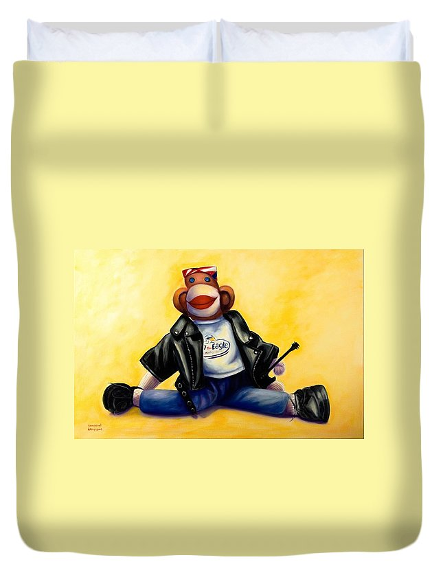 Sock Monkey Brown Duvet Cover featuring the painting Biker Dude Made Of Sockies by Shannon Grissom