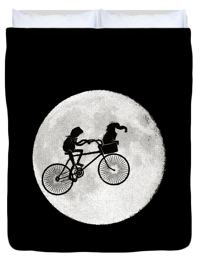 Et Duvet Cover featuring the digital art Biker Of The Moon by Dazzle Fillinheart