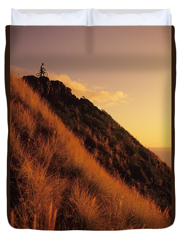 Accomplishment Duvet Cover featuring the photograph Biking At Sunset by Dana Edmunds - Printscapes