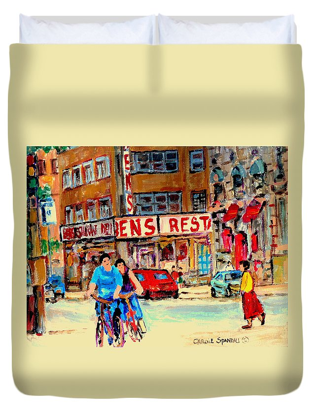 Montreal Duvet Cover featuring the painting Biking Past Ben by Carole Spandau