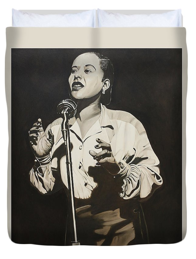 Singer Duvet Cover featuring the painting Billie Holiday by Rick Seguso