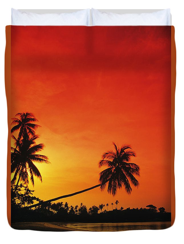 Beach Duvet Cover featuring the photograph Bintan Island Sunset by Gloria & Richard Maschmeyer - Printscapes