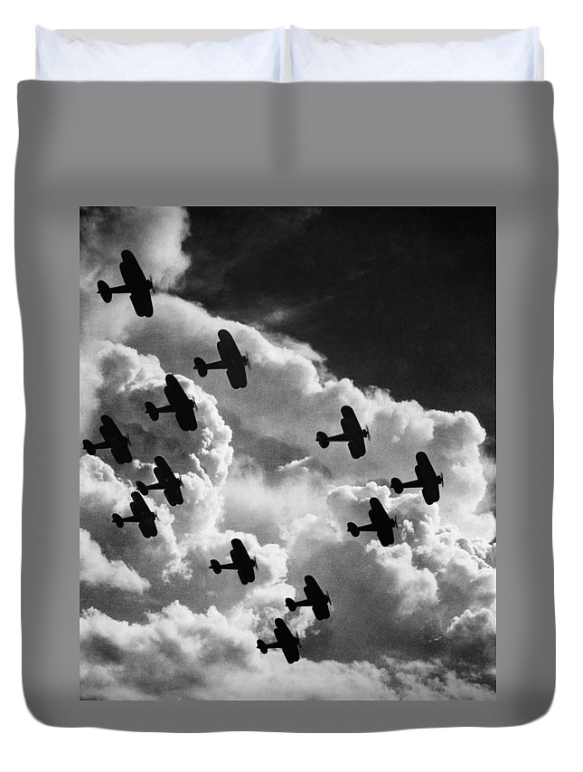 1917 Duvet Cover featuring the photograph Biplanes, C1917 by Granger