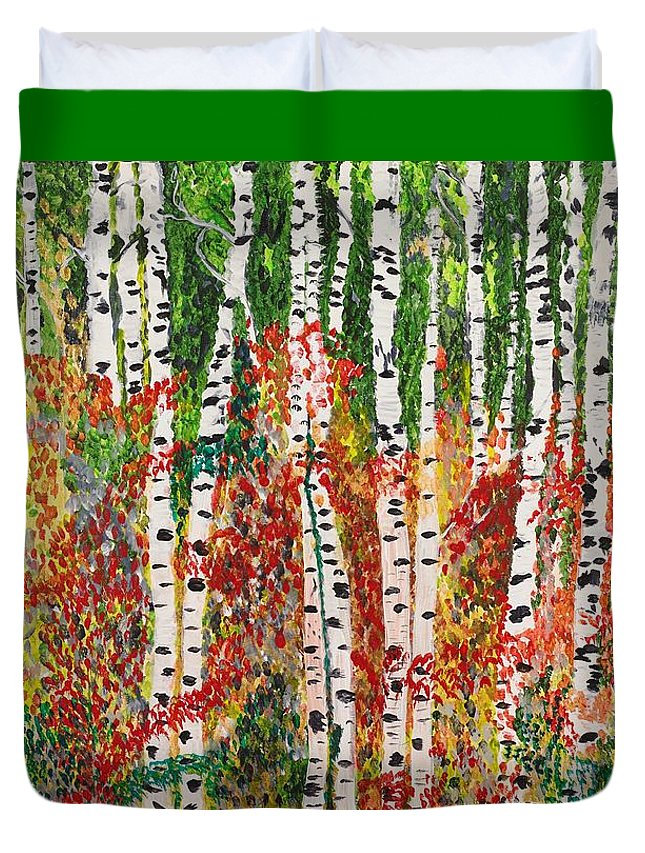 Landscape Duvet Cover featuring the painting Birch Forest by Valerie Ornstein