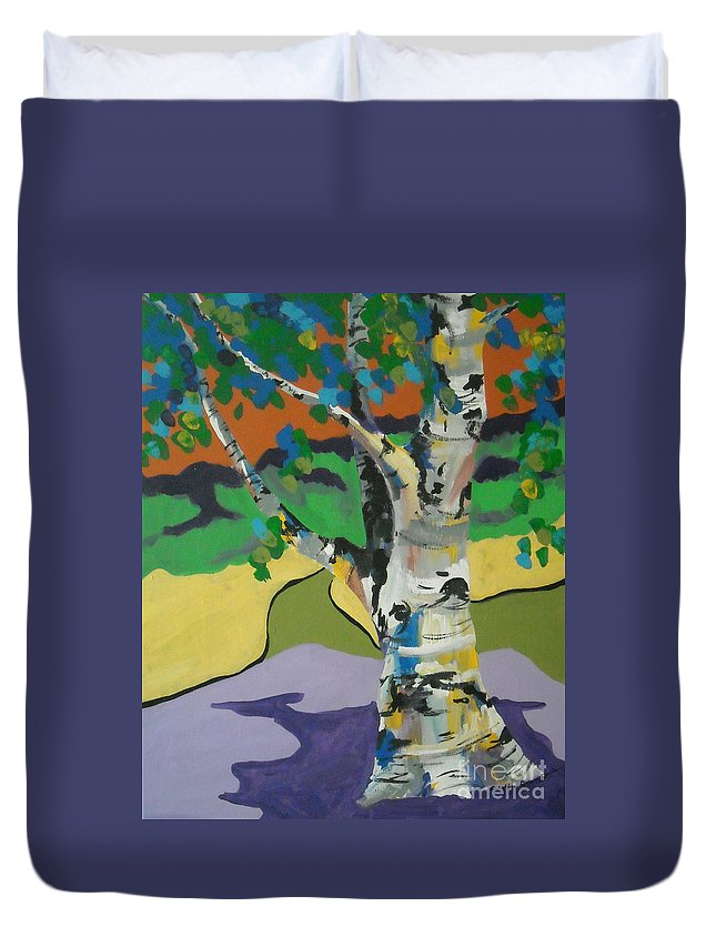 Tree Duvet Cover featuring the painting Birch Tree by Caroline Davis