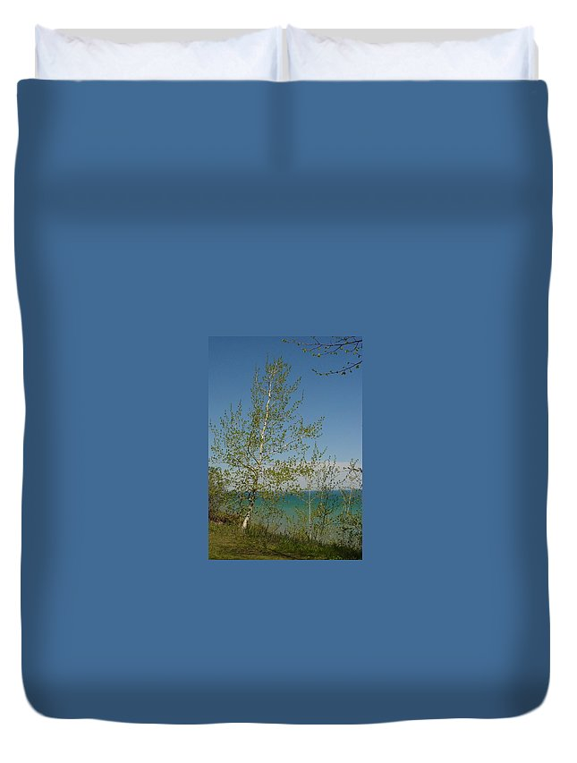 Birch Tree Duvet Cover featuring the photograph Birch Tree Over Lake by Anita Burgermeister