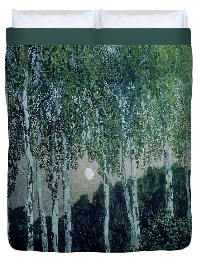 Birch Trees (oil On Canvas) By Aleksandr Jakovlevic Golovin (1863-1930) Duvet Cover featuring the painting Birch Trees by Aleksandr Jakovlevic Golovin
