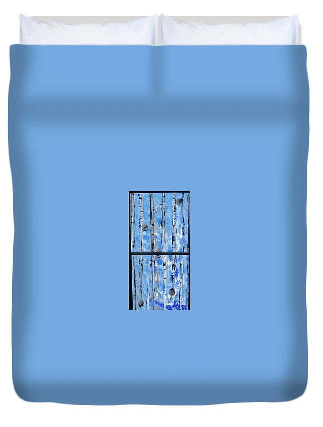 Land Duvet Cover featuring the painting Birch Trees - Blue by Jacqueline Athmann