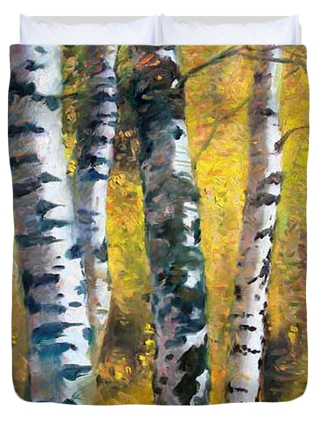 Landscape Duvet Cover featuring the painting Birch Trees In Golden Fall by Ylli Haruni