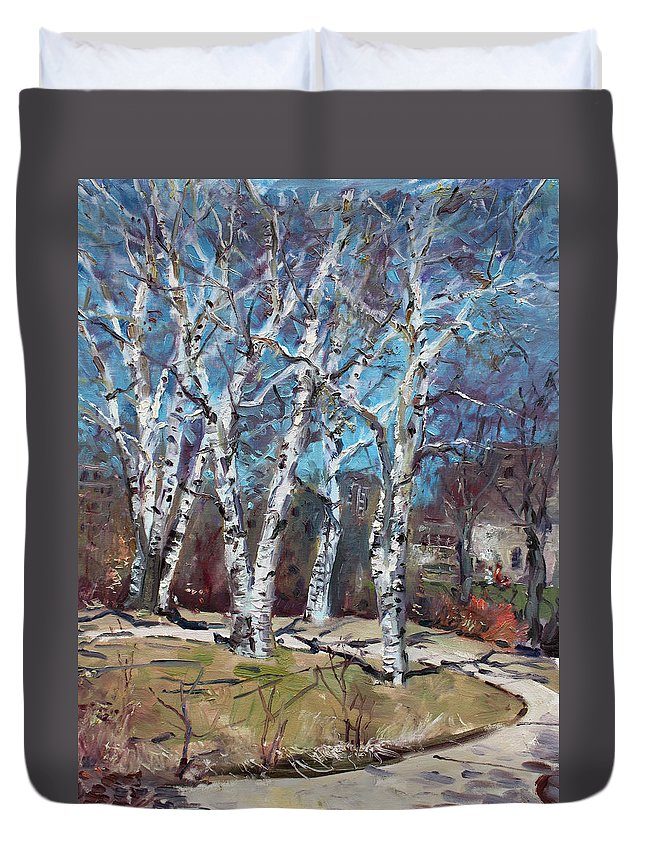 Landscape Duvet Cover featuring the painting Birch Trees Next Door by Ylli Haruni