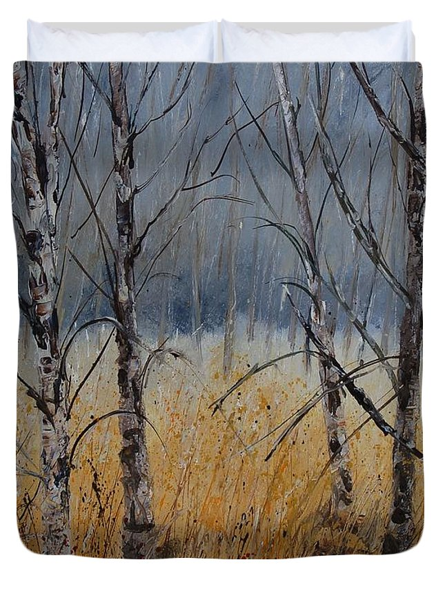 Winter Duvet Cover featuring the painting Birch Trees by Pol Ledent