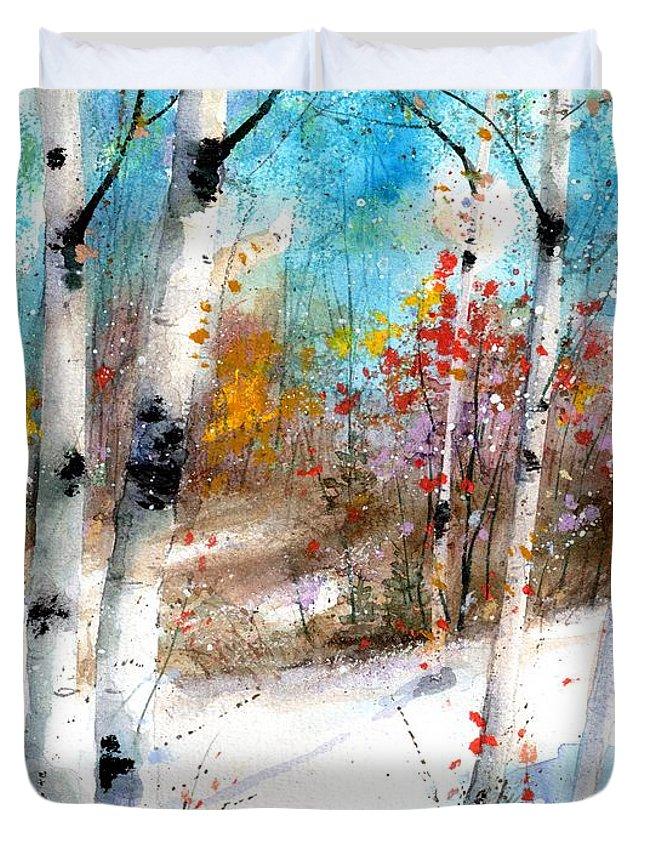 Birch Tree Art Duvet Cover featuring the painting Birch Valley by Diane Splinter