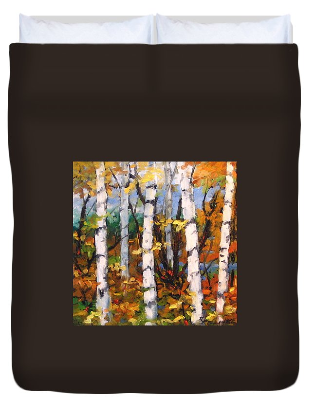 Art Duvet Cover featuring the painting Birches 03 by Richard T Pranke