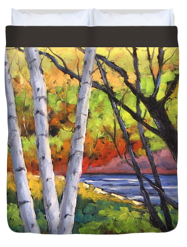 Art Duvet Cover featuring the painting Birches 06 by Richard T Pranke
