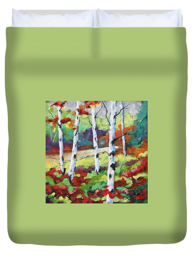 Art Duvet Cover featuring the painting Birches 07 by Richard T Pranke