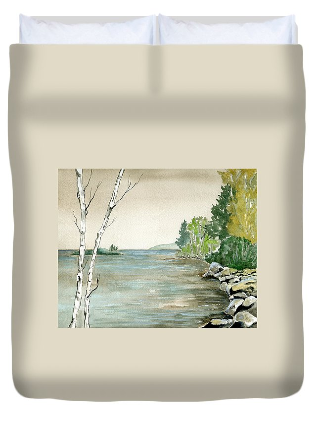 Landscape Watercolor Birches Trees Lake Pond Water Sky Rocks Duvet Cover featuring the painting Birches By The Lake by Brenda Owen