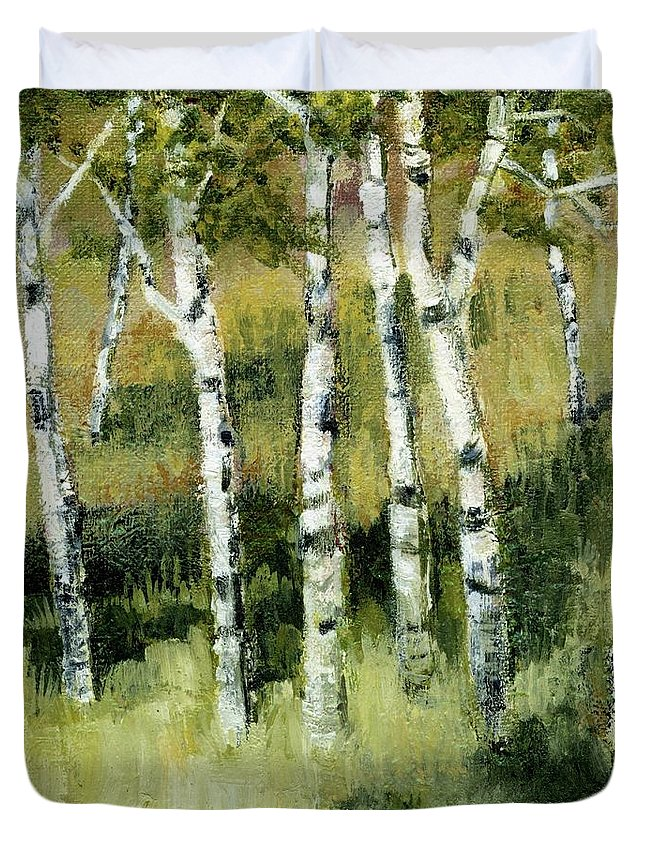 Trees Duvet Cover featuring the painting Birches On A Hill by Michelle Calkins