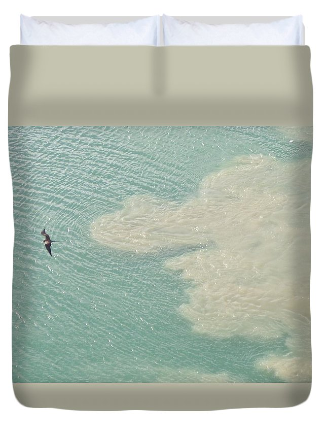 Bird Duvet Cover featuring the photograph Bird And Churning Sand by Michelle Miron-Rebbe
