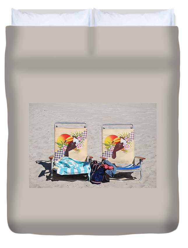 Chairs Duvet Cover featuring the photograph Bird Chairs by Rob Hans