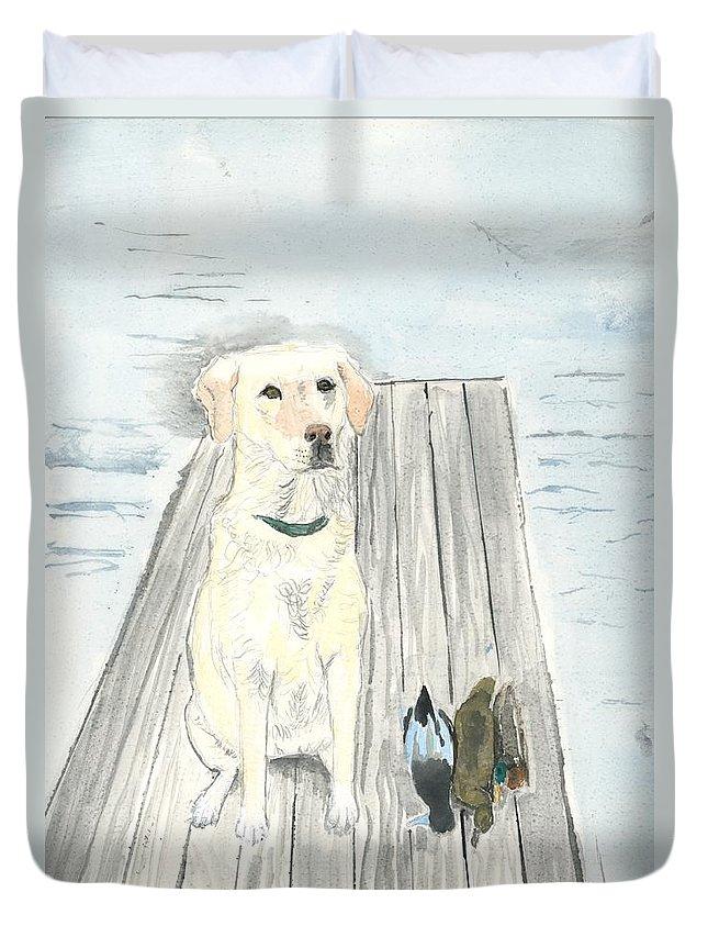 Daisy Duvet Cover featuring the painting Bird Dog by Sara Stevenson