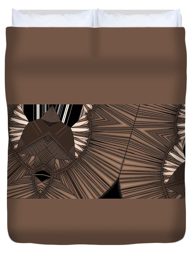 Abstract Duvet Cover featuring the digital art Bird Feather by Ron Bissett