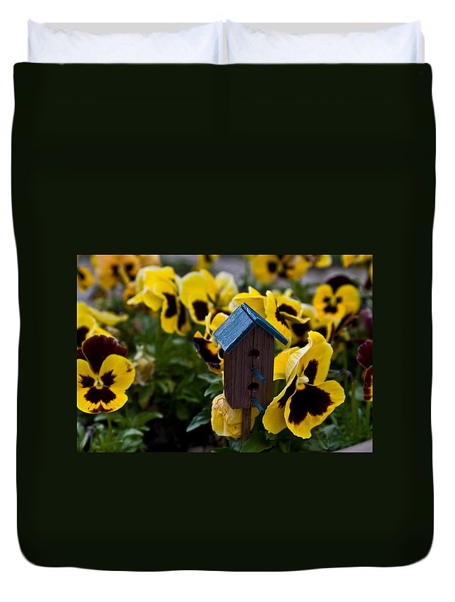 Pansy Duvet Cover featuring the photograph Bird House And Pansey by Douglas Barnett