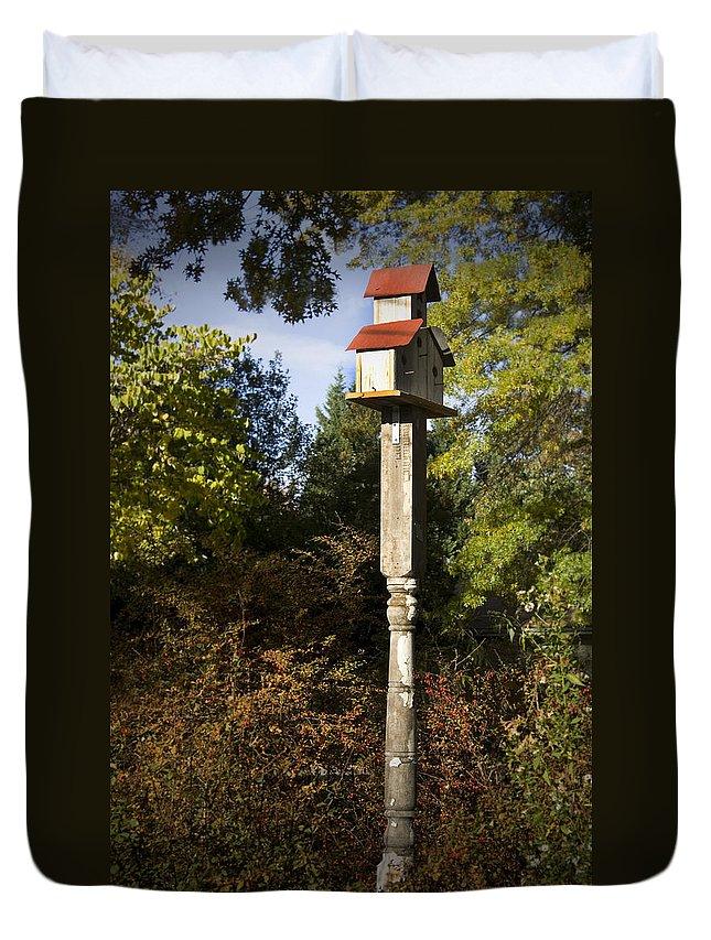 Fall Duvet Cover featuring the photograph Bird House by Teresa Mucha