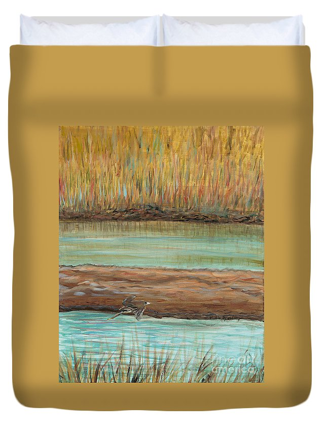 Bird Duvet Cover featuring the painting Bird In Flight by Nadine Rippelmeyer