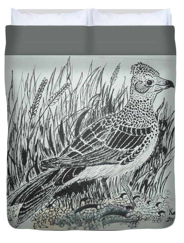 Flight Duvet Cover featuring the painting Skyirk Bird by Kenroy Brown