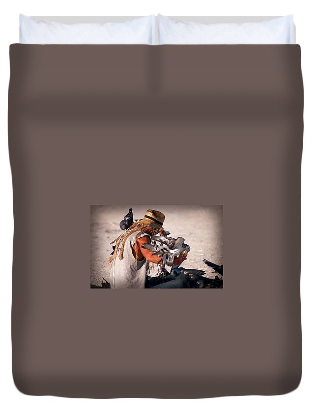 Birds Duvet Cover featuring the photograph Bird Man by Jennifer Stackpole