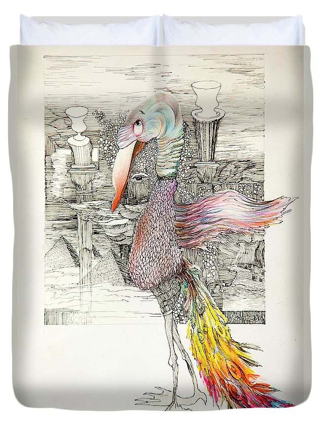 Ink Duvet Cover featuring the drawing Bird by Misha Lapitskiy