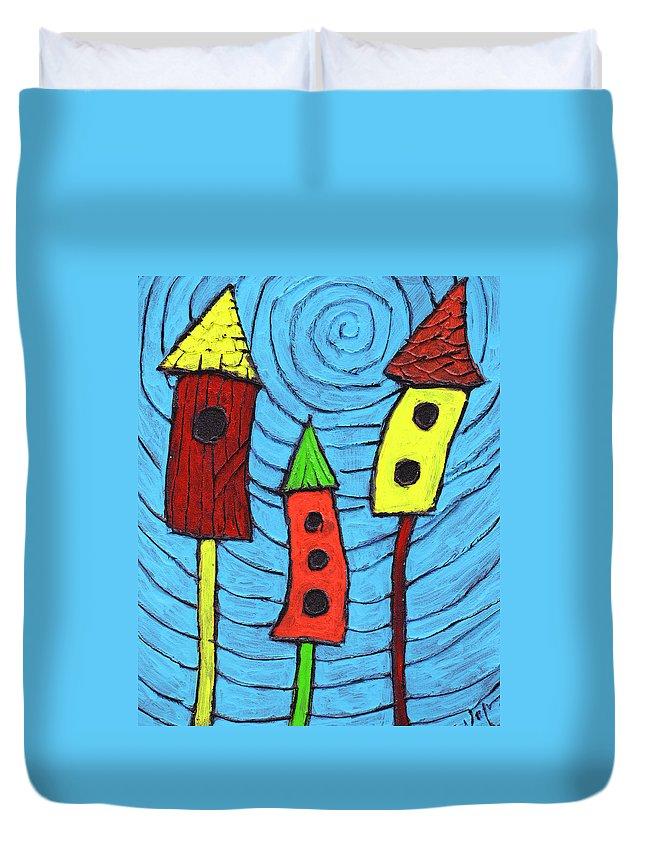 Bird Houses Duvet Cover featuring the painting Bird Neighbors by Wayne Potrafka